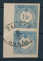 1868 Hírlapilleték bélyeg 1kr függőleges ívszéli pár / Newspaper duty stamp vertical margin pair ZAGREB AGRAM