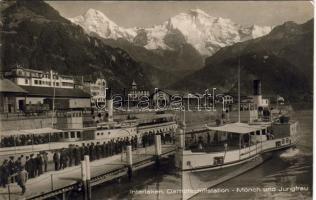 Interlaken hajóállomás a Mönch és Jungfrau hegyekkel, Interlaken ship station, Mönch und Jungfrau mountains