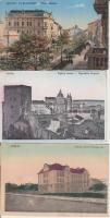 3 old postcards, Polish towns, 3 db régi, lengyelországi városképes lap