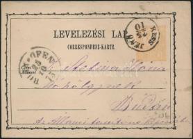 1873 2kr díjjegyes levelezőlap KISS JENŐ - Budán