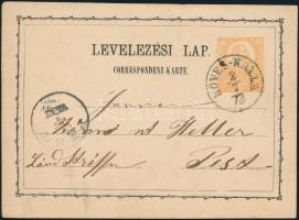 1873 2kr díjjegyes levelezőlap / PS-card KÖVES-KÁLLA - PEST