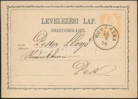 1874 2kr díjjegyes levelezőlap / PS-card KOVÁSZNA - Budapest/Főposta