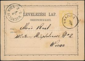 1873 2kr díjjegyes levelezőlap / PS-card KRAPINA - WIEDEN IN WIEN