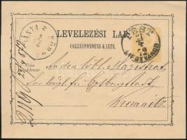 1872 2kr díjjegyes levelezőlap előnyomott szöveggel PEST LIPÓTVÁROS