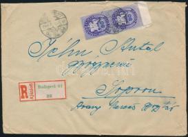 1946 (11. díjszabás) Ajánlott távolsági levél 250g-ig Köztársaság, Lovasfutár és Újjáépítés bélyegekkel kicsit túlbérmentesítve