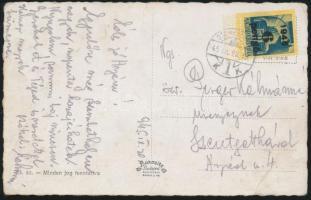 1945 (3. díjszabás) Távolsági Képeslap Kisegítő (II.) 6P/50f bérmentesítéssel