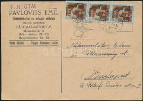 1945 (3. díjszabás) Távolsági levelezőlap 3x Kisegítő 2P/2P bérmentesítéssel