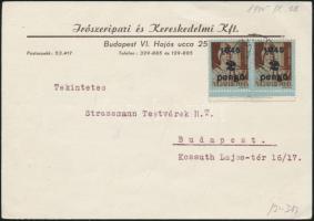 1945 (3. díjszabás) Helyi levelezőlap 2x Kisegítő 2P/4f bérmentesítéssel