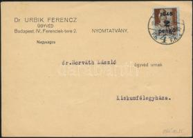 1945 (3. díjszabás) Nyomtatvány Kisegítő 2P/4f bérmentesítéssel