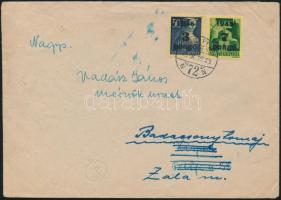 1945 (3. díjszabás) Távolsági levél Kisegítő 7P/1P + 3P/50f bérmentesítéssel