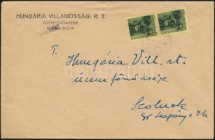 1945 (3. díjszabás) Távolsági levél 2x Kisegítő 5P/8f bérmentesítéssel