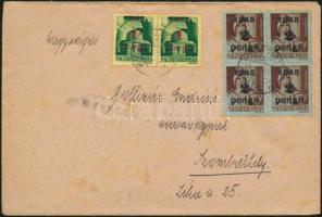 1945 (3. díjszabás) Távolsági levél 4x Kisegítő 2P/4f + 1P/1P bérmentesítéssel