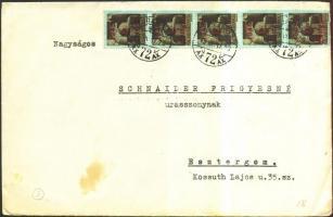 1945 (3. díjszabás) Távolsági levél 5x Kisegítő 2P/2P bérmentesítéssel