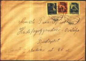 1945 (3. díjszabás) Távolsági levél Kisegítő 6P/50f, 3P/50f, 1P/20f bérmentesítéssel