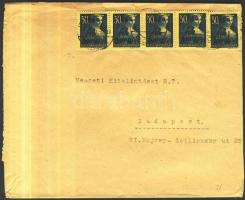 1945 (3. díjszabás) Helyi levél 250g-ig 5x Kisegítő 3P/50f bérmentesítéssel