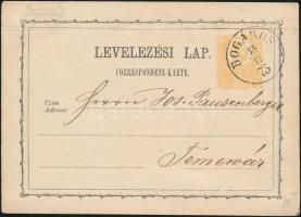 1873 2kr díjjegyes levelezőlap / PS-card BOGÁROS - Temesvár