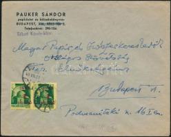 1945 (2. díjszabás) Helyi levél 2x Kisegítő (I.) 1P/1P bérmentesítéssel (eltolódott felülnyomat)