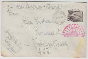 1931 Zeppelin északi-sarki útja levél 4RM Polarfahrt bélyeggel Berlinből a MALYGIN jégtörőre