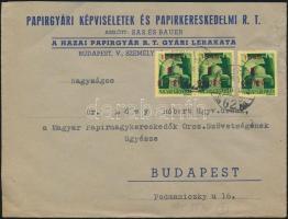 1945 (2. díjszabás) Helyi levél 250g-ig 3x Kisegítő (I.) 1P/1P bérmentesítéssel