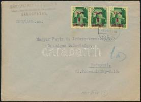 1945 (2. díjszabás) Távolsági levél 3x Kisegítő (I.) 1P/1P bérmentesítéssel
