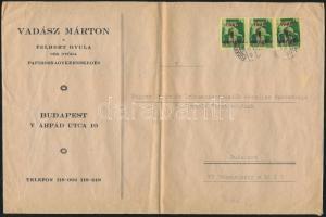 1945 (2. díjszabás) Helyi levél 250g-ig 3x Kisegítő (I.) 1P/1P bérmentesítéssel (félbehajtva)