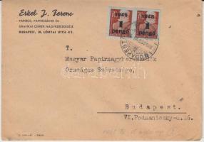 1945 (2. díjszabás) Helyi levél 2x Kisegítő (I.) 1P/70f bérmentesítéssel