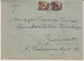 1945 (2. díjszabás) Helyi levél 2x Kisegítő (I.) 1P/80f bérmentesítéssel