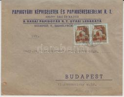 1945 Inflation cover, (2. díjszabás) Helyi levél 2x Kisegítő (I.) 1P/80f bérmentesítéssel