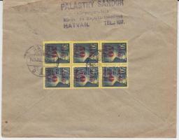 1945 (2. díjszabás) Távolsági levél 6x Kisegítő (I.) 50f/50f bérmentesítéssel
