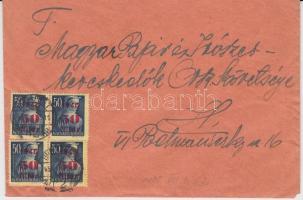 1945 (2. díjszabás) Helyi levél 4x Kisegítő (I.) 50f/50f bérmentesítéssel