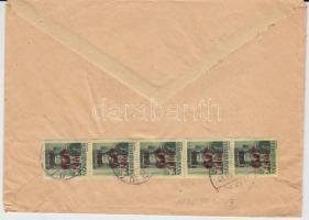 1945 (2. díjszabás) Távolsági levél 5x Kisegítő (I.) 60f/8f bérmentesítéssel