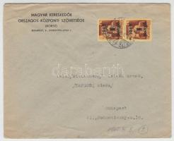 1945 (2. díjszabás) Helyi levél 2x Kisegítő (II.) 1P/20f bérmentesítéssel