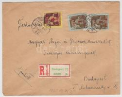 1945 (2. díjszabás) Ajánlott helyi levél Kisegítő bélyegekkel bérmentesítve
