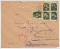 1945 (2. díjszabás) Távolsági levél 5 db Kisegítő bélyeggel bérmentesítve