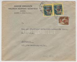 1945 (2. díjszabás) Helyi levél 2x Kisegítő 50f/50f + 1P/80f bérmentesítéssel