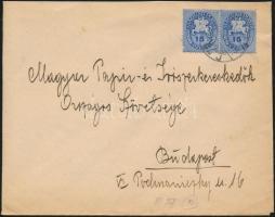 1946 (10. díjszabás) Helyi levél 2x Lovasfutár 15eP bérmentesítéssel