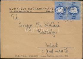 1946 (10. díjszabás) Helyi levél 2x Köztársaság 15eP bérmentesítéssel