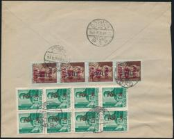 1946 (10. díjszabás) Soproni helyi levél 12 db (2 féle) Betűs bélyeggel bérmentesítve
