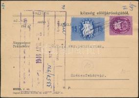 1946 (10. díjszabás) Távolsági levelezőlap Köztársaság 15eP + Lovasfutár 30eP bérmentesítéssel, a postás által érvénytelenítve
