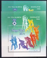 1983 Téli Olimpia blokk kékeszöld helyett zöld háttér