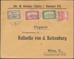 1918.07.10. 3. súlyfokozatú légi levél Bécsbe Repülő posta 4K50f + díjkiegészítéssel / Mi 241 + additional franking on airmail cover to Vienna Signed: Visnyovszki