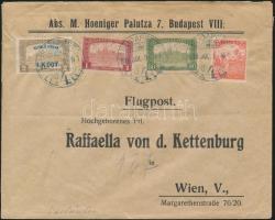 1918.07.09. 3. súlyfokozatú légi levél Bécsbe Repülő posta 4K50f + díjkiegészítéssel / Mi 241 + additional franking on airmail cover to Vienna Signed: Visnyovszki