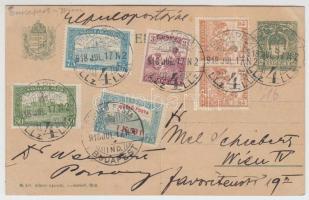1918.07.17. Repülő posta 1K50f díjkiegészítéssel légi levelezőlapon Bécsbe / Mi 210 + additional franking on airmail postcard to Vienna. Signed: Visnyovszki