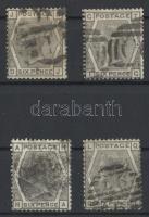 1873 Mi 44 plate numbers 13, 14, 16, 17 lemezszámmal