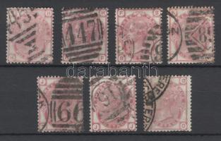 1873 Mi 41 7 klf lemezszámmal / plate numbers 11, 12, 14, 15, 17, 19, 20