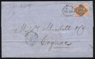 1863 Mi 19 II levélen Dublinból Franciaországba / on cover from Dublin to France