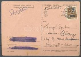 """Abony Hadvezérek 40f/10f távolsági levelezőlapon Jászfényszarura, """"elköltözött"""" jelzéssel visszaküldve. A bélyeg 100 példányban készült, küldeményen néhány példány létezhet.Certificate: Bodor, Visnyovszki 40f/10f on postcard to Jászfényszarú, returned. Issue of the stamp: 100 pcs, a few covers can exist. Certificate: Bodor, Visnyovszki"""