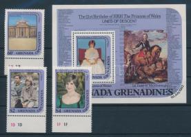 1982 Diana hercegnő 21. születésnapja ívszéli sor Mi 502-507 + blokk Mi 65