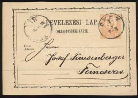 1873 2kr díjjegyes levelezőlap PEST / 7-8 - Temesvár