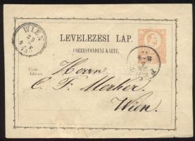 1873 2kr díjjegyes levelezőlap PEST / 3-4 - WIEN